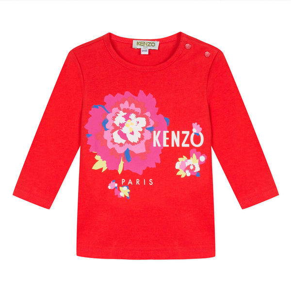 Red T-shirt with flower print