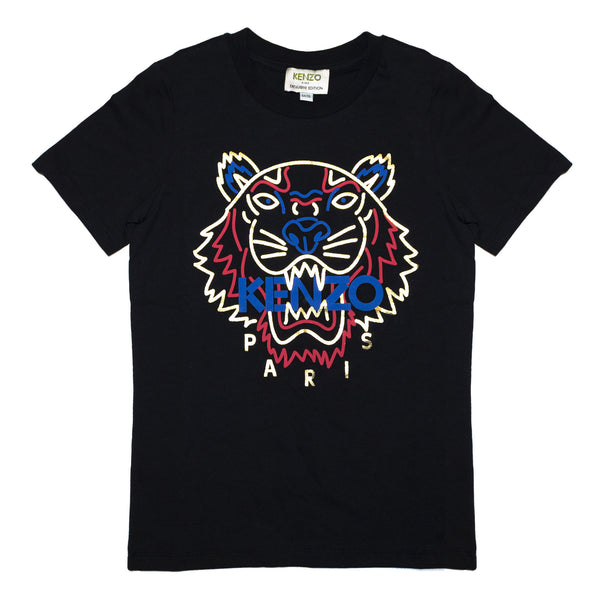 Black T-shirt with embroidered Tiger