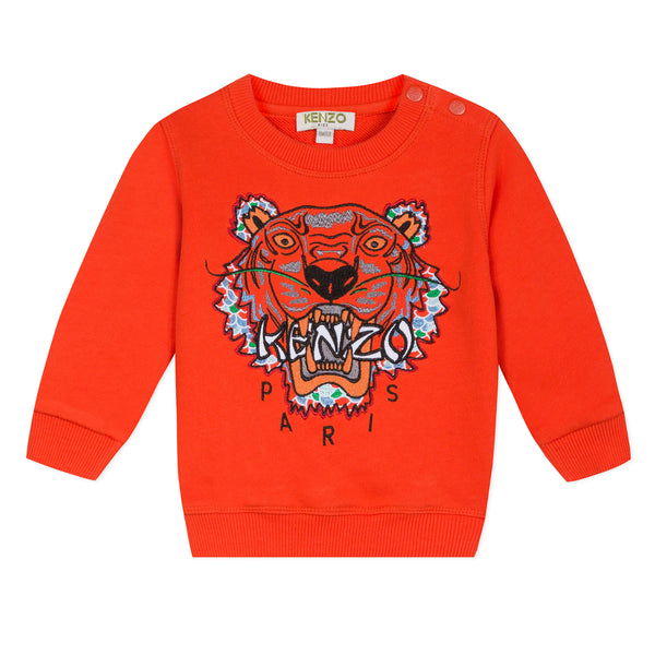 Red sweatshirt with embroidered Tiger