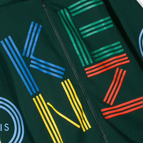 Green zip-up hooded cardigan with logo