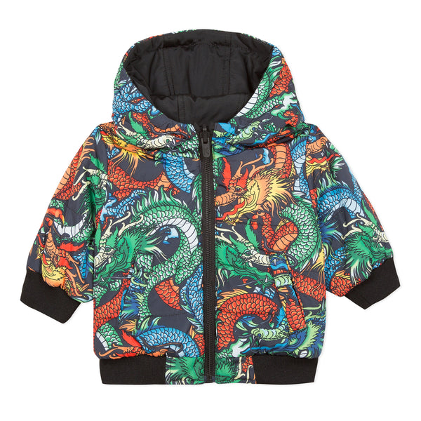 Reversible printed puffa jacket
