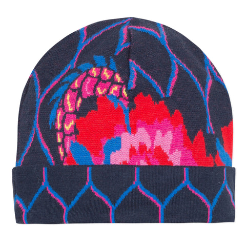 Blue jacquard winter hat