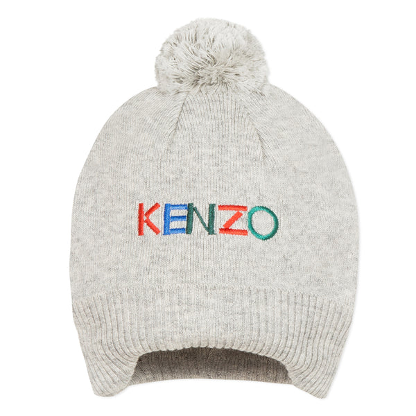 Grey knitted hat with logo