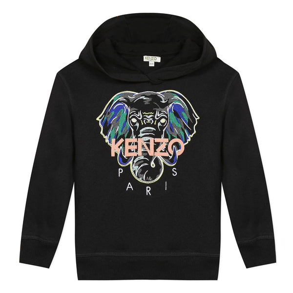 Black hooded sweatshirt with elephant mascot