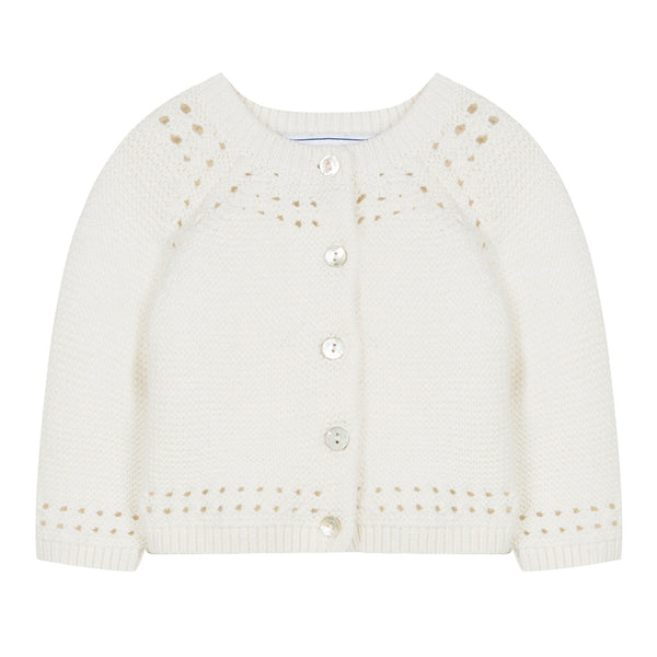 Baby girl heather mother of pearl sweater