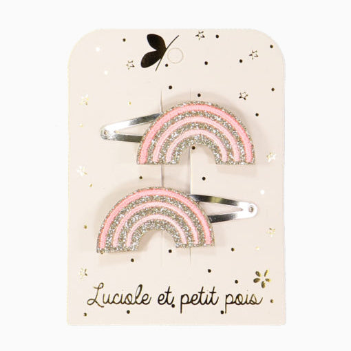 Pink rainbow hair clip (set of 2)