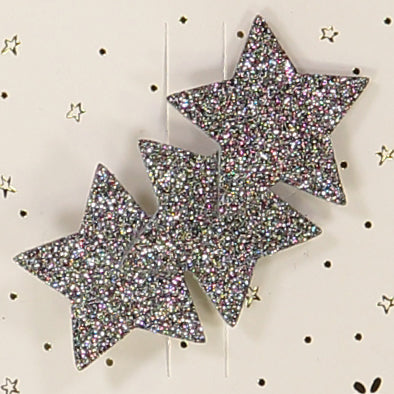 Bronze glitter three-star hair clip