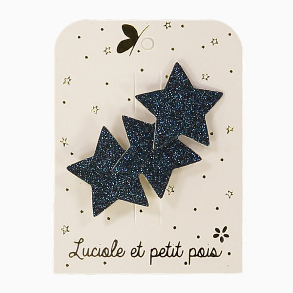 Navy blue glitter three-star hair clip