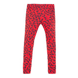 Red abstract printed leggings