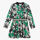 Girl graphic printed dress in black,white and green