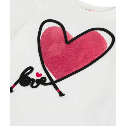 White T-shirt with a glitter heart