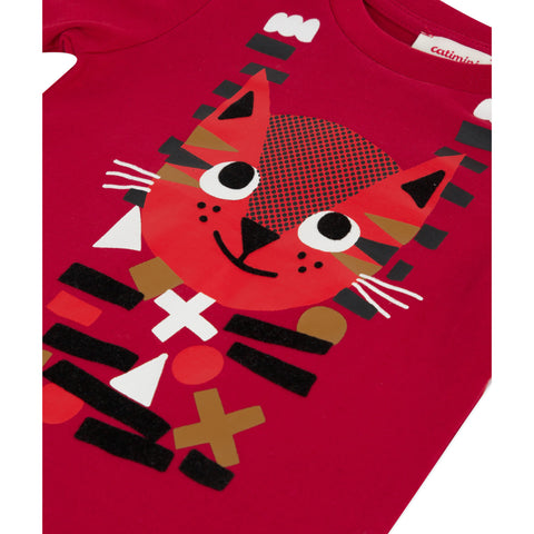 *NEW* Red T-shirt with funny cat visual