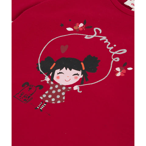 Red T-shirt with girl visual