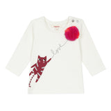 Ecru T-shirt with pompom