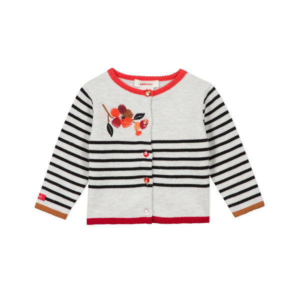 Striped cardigan with embroideries