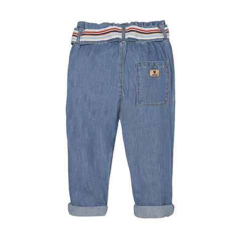 Light denim paperbag pants