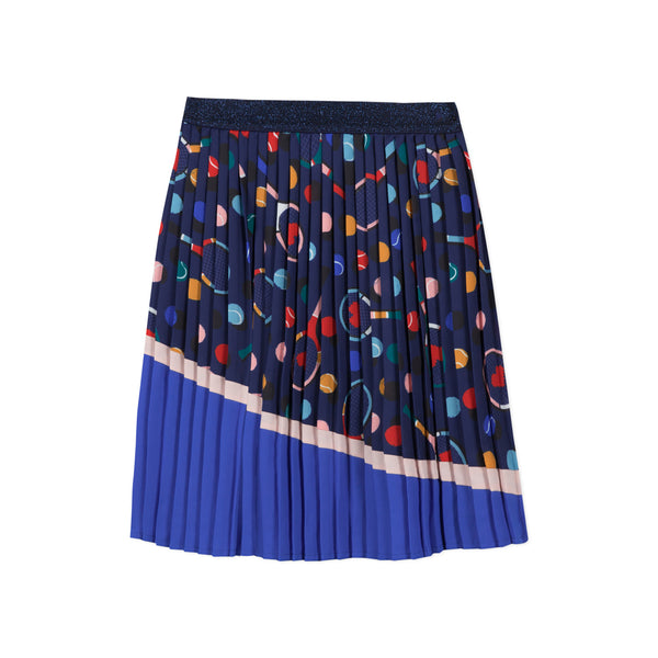Long blue pleated skirt