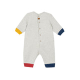 Grey fleece jumpsuit with badges