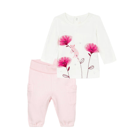 Floral T-shirt and pink pants