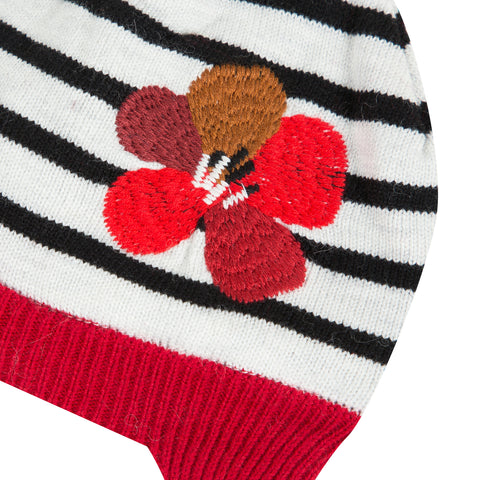 Striped hat with embroidery