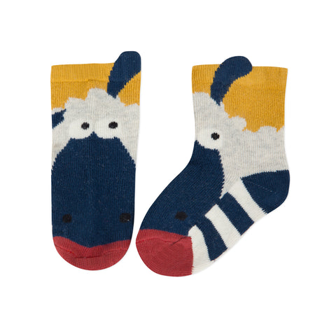 Striped jacquard socks with 3D ears