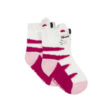 Pink and white socks with cat design