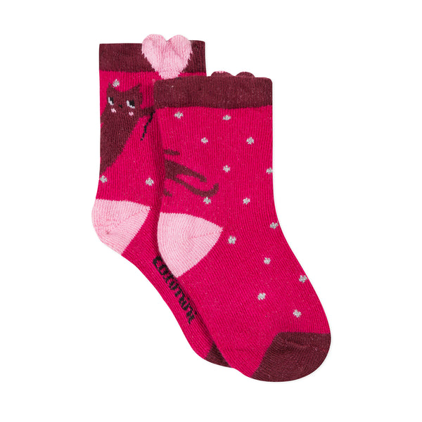 Pink jacquard socks with hearts