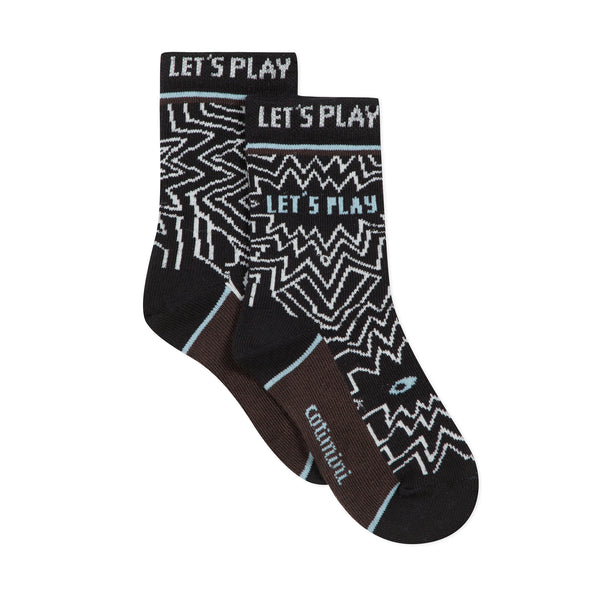 Black and white jacquard socks