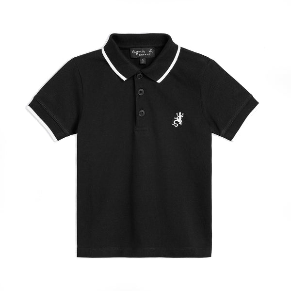 Black pique cotton polo shirt