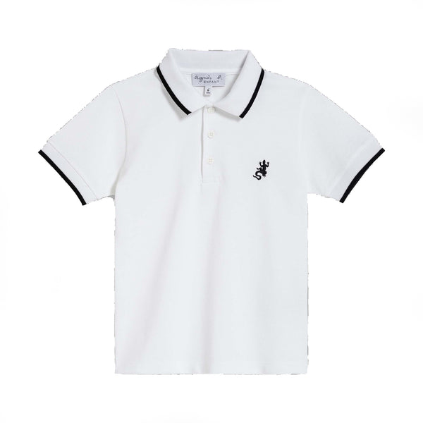 White pique cotton polo shirt