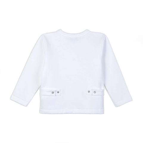 "White iconic ""12 years"" snap cardigan"