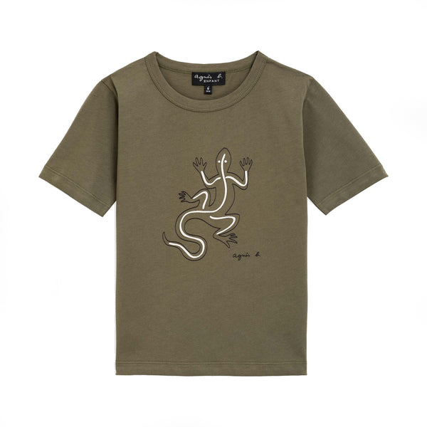 Kaki embossed lizard t-shirt