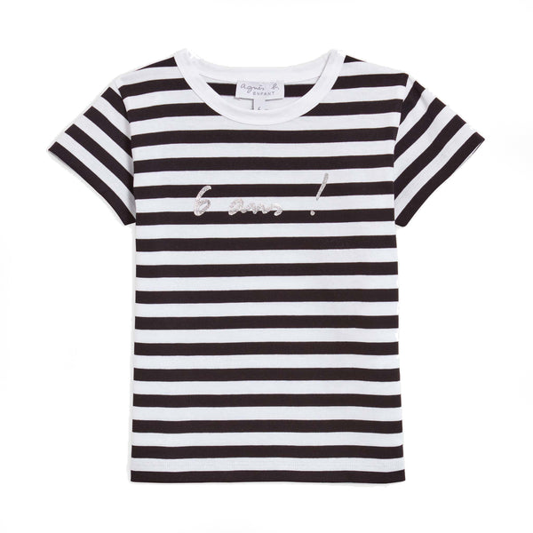 "Black and white striped ""6 years"" T-shirt"