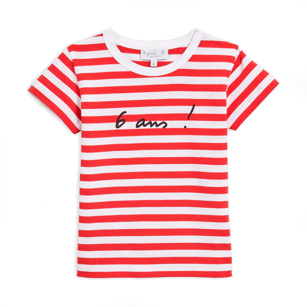 "Red and white striped ""6 years"" T-shirt"