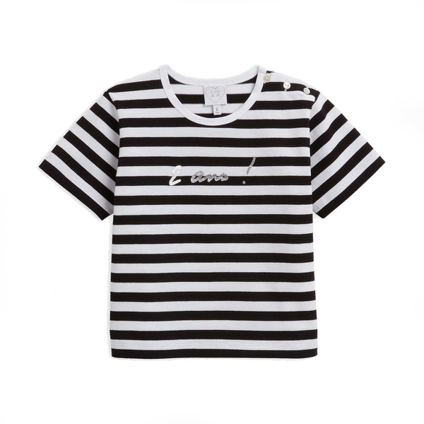"Black and white striped ""2 years"" T-shirt"