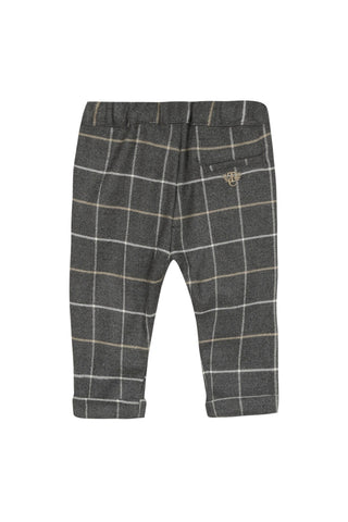 Dark grey marl checked flannel pants