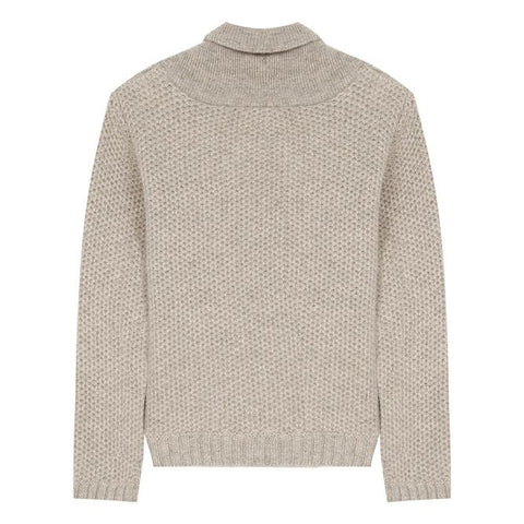 Beige wool jumper with shawl collar