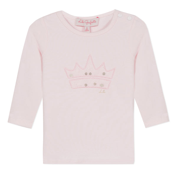 Pink T-shirt with a tulle crown
