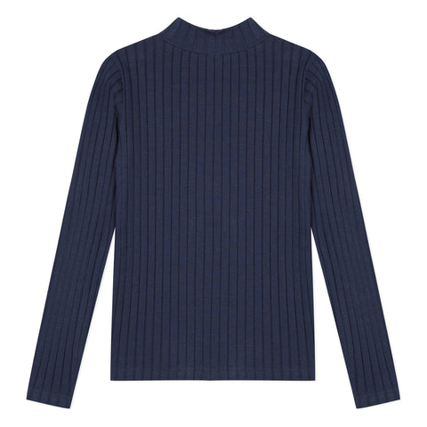 Navy ribbed turtleneck T-shirt