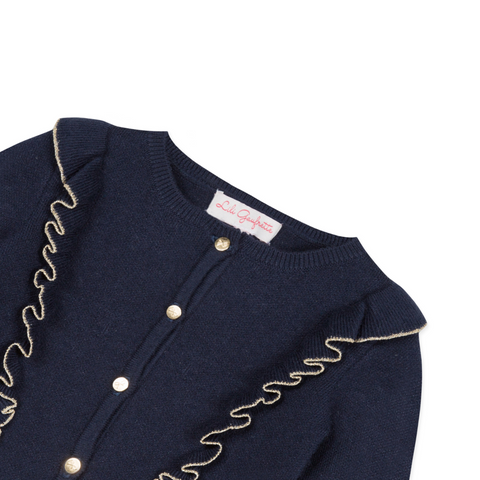 Navy and gold cardigan with ruffles