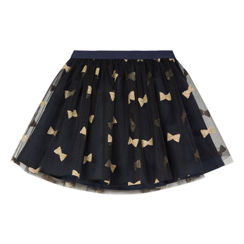 Navy and gold tulle skirt