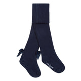 Navy knit tights with bows