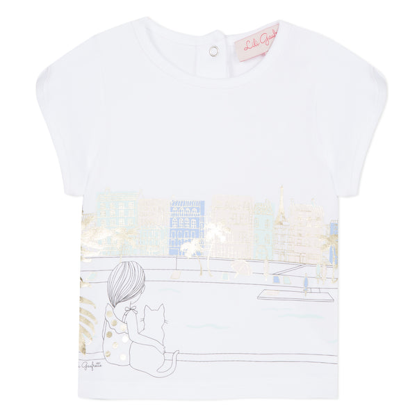 White T-shirt with cat visual