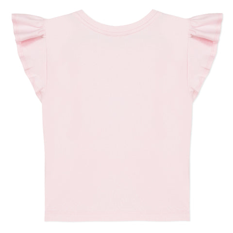 Pink ruffle T-shirt with girl visual