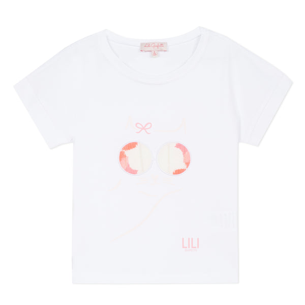 White T-shirt with cat artwork