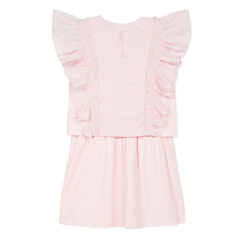 Pink pleated flared dress