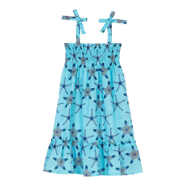 Turquoise starfish printed midi dress