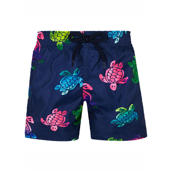 Multicolor turtles printed swim trunk