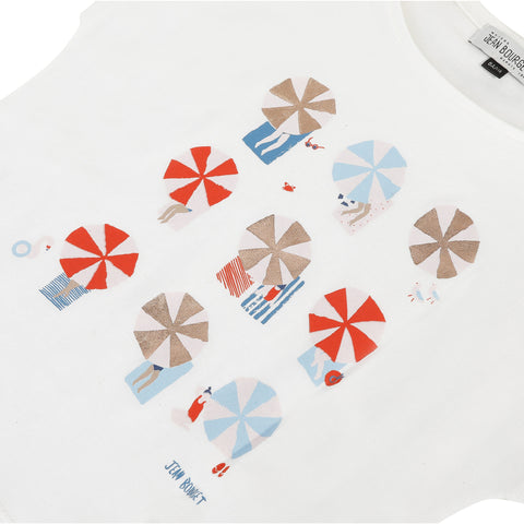 White T-shirt with umbrella print