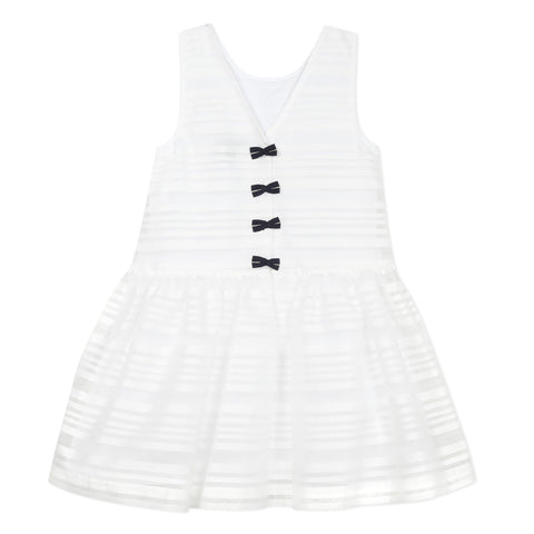 White striped organza dress with bows